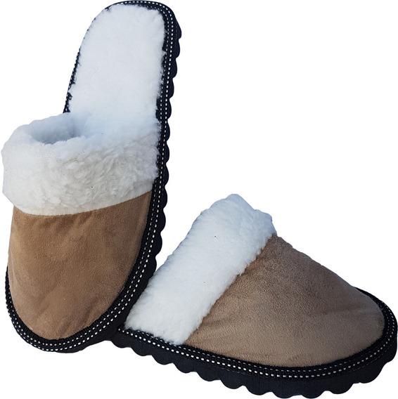 Pantuflas Para Hombre Con Polar Y Corderito - 1ra Calidad