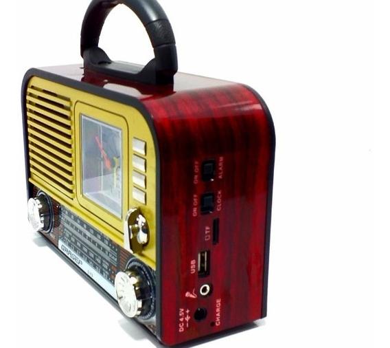 Caixa Som Retrô Bluetooth Radio Am Fm Sw Usb Sd Original F8