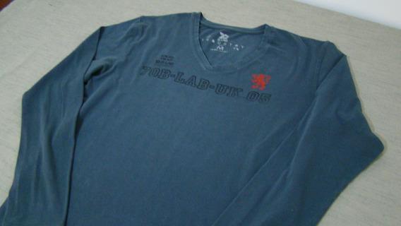 Camiseta De Algodão Masculina Manga Longa Azul Petróleo M