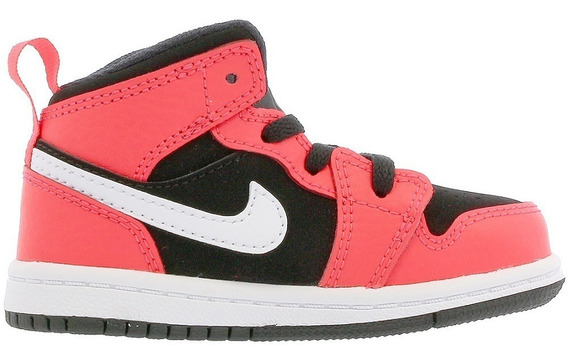 Kids Original Tenis Nike Jordan Retro 1 Mid Bt Orange White