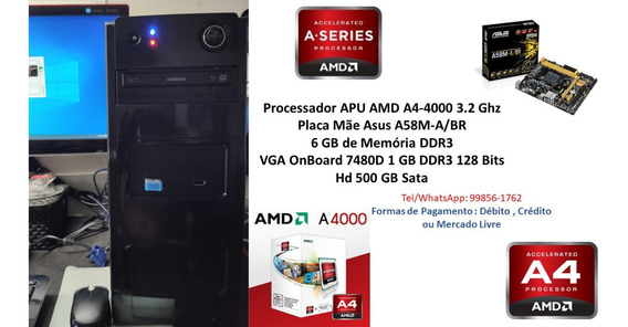 Pc Gamer Básico Amd A4-4000 6gb Ram Hd 500gb Radeon Hd7480