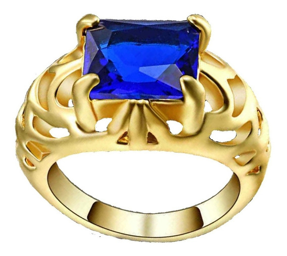 Anel Banhado Ouro Formatura Masculino Curso Safira Azul 214