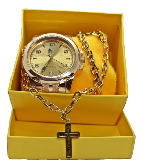 Kit Relógio Masculino +pulseira+corrente Luxo Esportivo Top