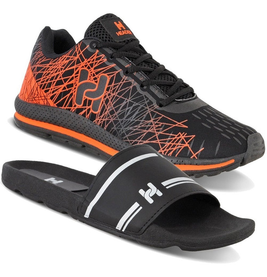 Kit 1 Tênis Masculino Academia Spider Super Leve + 1 Chinelo