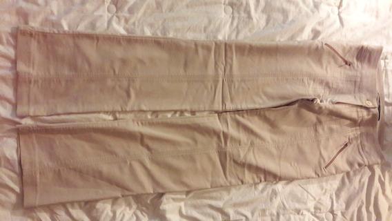 Pantalon Materia Talle Xs Beige De Gabardina Elastizada