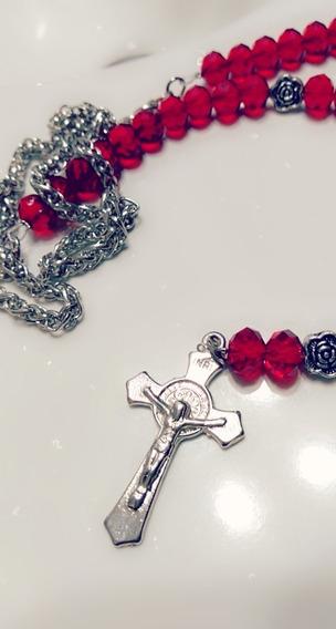 Collar Rosario De Cristales Rojo