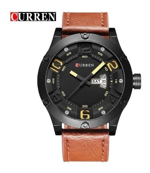Relógio De Pulso Curren 8225 Marrom - Pulseira De Couro