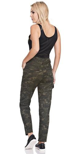 Pantalon Gabardina Cargo Camuflado Militar Tiro Alto Mujer Mdcmoda