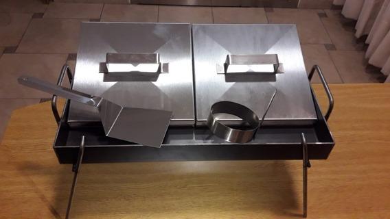 Plancha 2 Hornallas 5cm + Espátula + Molde + Tapas + Patas