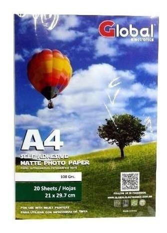 Resma Papel Mate A4 X 500 Hojas 110gr Laser Inkjet Global
