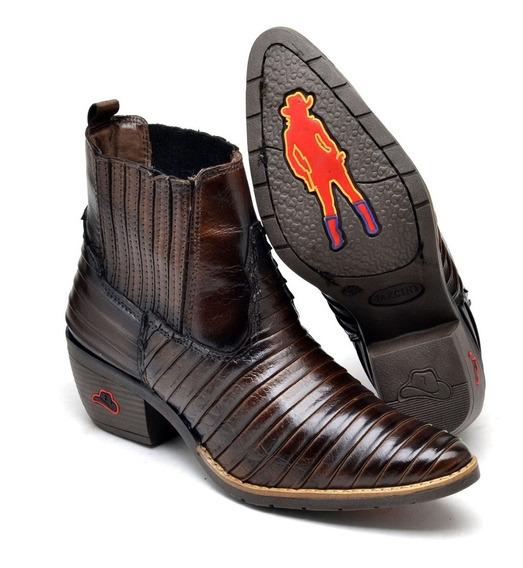 Bota Botina Country Texana Feminina Bico Fino Tatu Cowgirl