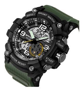 Reloj Sanda Hombre Militar Antishock Verde