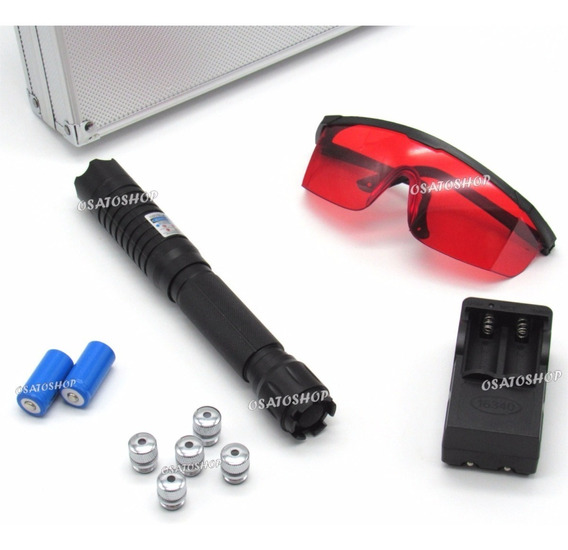 Laser Azul Torch 30.000mw Com 5 Ponteiras Metálicas + Maleta