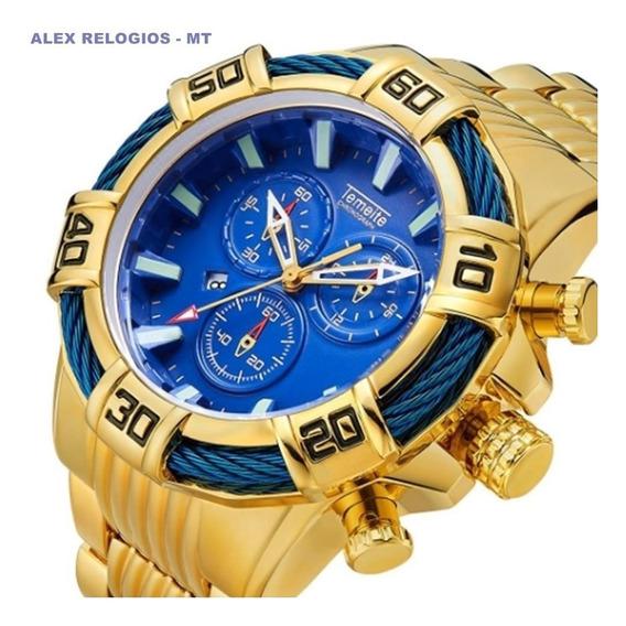 Promoção Relógio Temeite Original Luxo Dourado Azul Prt Entr