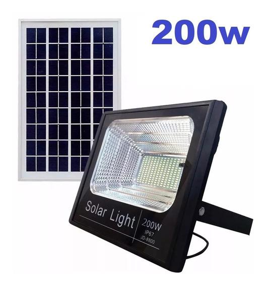 Refletor Holofote Led Solar 200w Real Ultra Placa Completo P/ Estacionamento Fachada Fazenda Curral Quintal