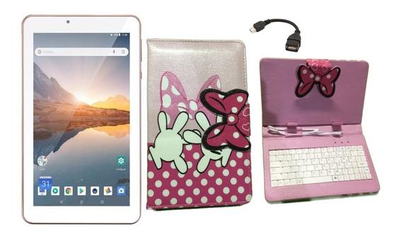 Tablet M7s Plus Rosa 16gb Android 8.1 + Capa De Teclado Rosa
