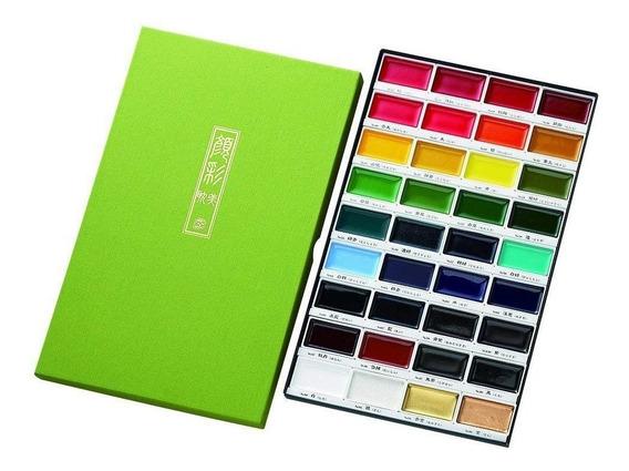 Acuarelas Kuretake, Set De 36 Colores + 3 Water Brush Pen