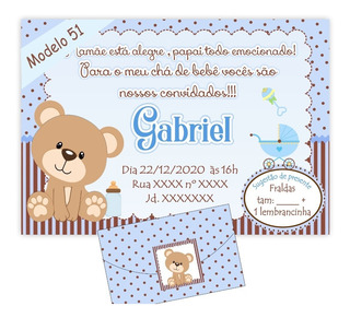 64 Convites Chá Bebê / Fraldas Tema Ursinhos 55,00