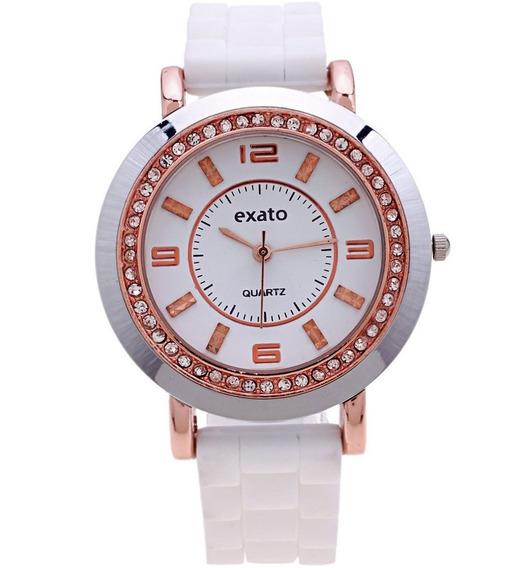 Relógio Feminino Exato Branco Ouro Rose Cobre Silicone