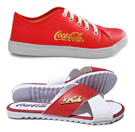 Tênis Feminino Casual Coca Cola + Sandália Promoção Oferta