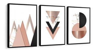 Quadro Decorativo Abstrato Geométrico Rose Triângulo Sala