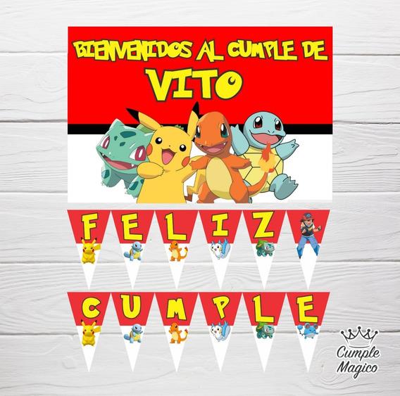 Pokemon Cartel Y Banderín Deco Cumpleaños Pikachu