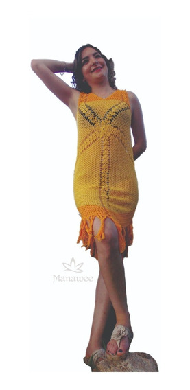 Vestido Manawee Mujer Midi Tejido Crochet