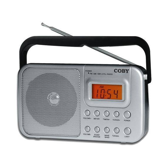 Rádio Portátil Am Fm Sw1 Sw2 Relógio E Alarme Coby Cr201