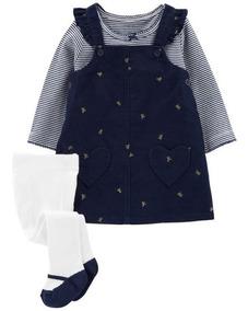 1543a5296 Vestido C  Blusa E Meia-calça Carters 6 Meses Coleção Outono