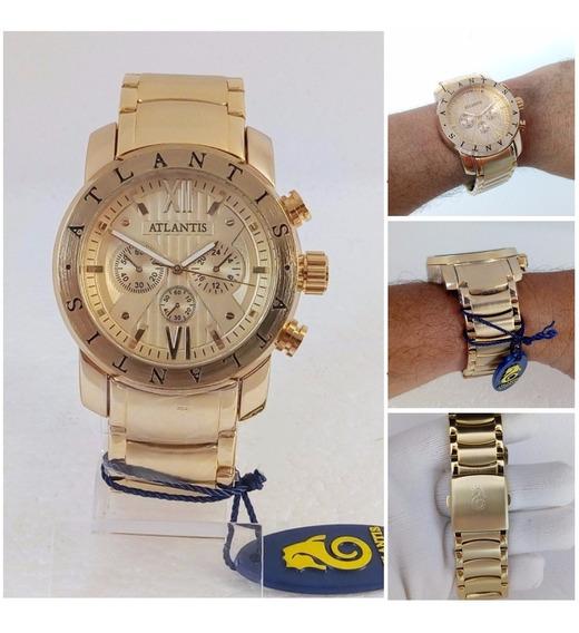 Relógio Atlantis Sports A3310 Vip Masculino Dourado Original Estilo Bugary