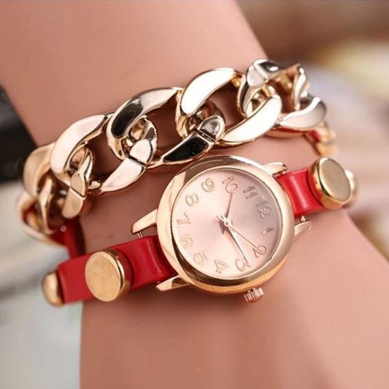 Relógio Feminino Pulseira Quartz Vermelho + Brinde