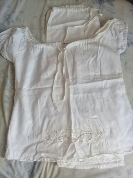 Conjunto Blusa E Bermuda Branca Em Jeans Da Bahia