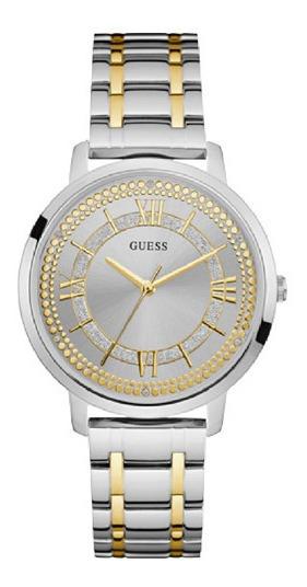 Relógio Feminino Guess W0933l5 Prata Dourado Original