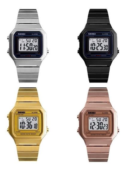 Relógio Feminino Skmei 1377 Similar Casio Quadrado Social Rose Dourado Prata Preto Pulseira Inox Aprova D