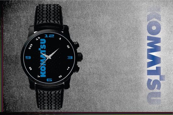 Relógio De Pulso Personalizado Logo Komatsu Retroescavadeira Pulseira Borracha Pneuss