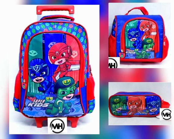Kit Mochila De Rodinha Escolar Infantil G Super Kids 3itens