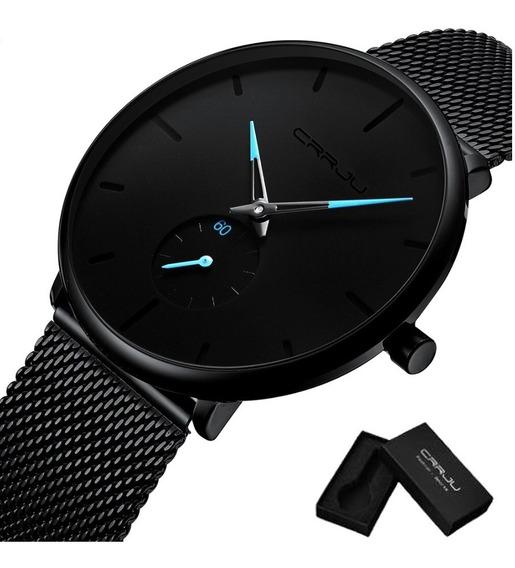 Relógio Crrju 2150 Original Ultra Fino Na Caixa Estojo