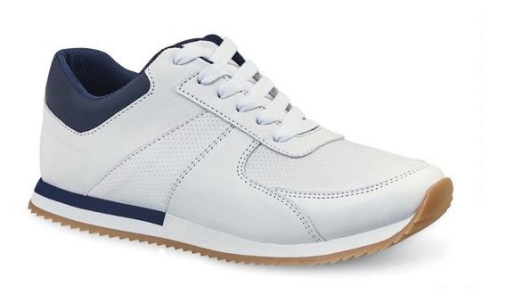 Tenis Casual Hombre Caballero Blanco Azul Tipo Piel Comodo