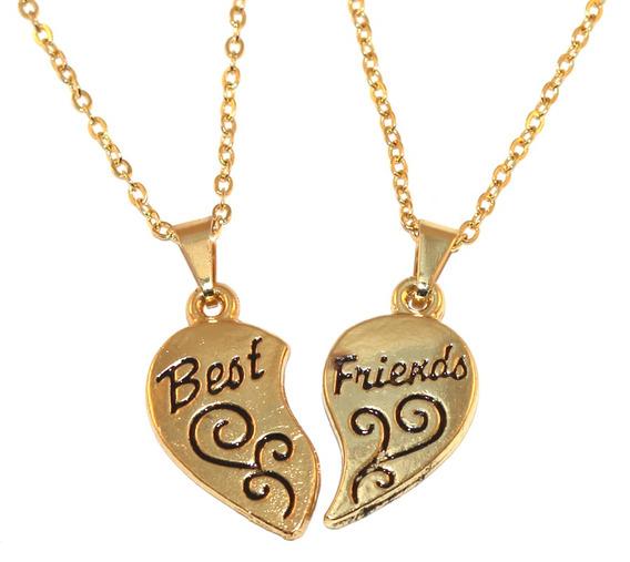 Colar Cordão Amigas Amizade Best Friends Folheado Ouro 18k