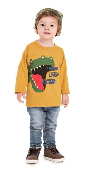 Camiseta Infantil Manga Longa Bicho Bagunça Dinossauro
