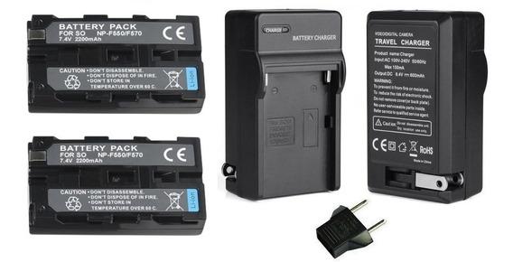 2 Baterias Npf550 + 1 Carregador Monitor Lcd Lilliput A7s A5