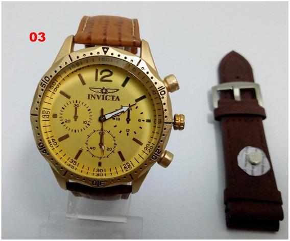 Relógio Masculino Dourado Barato Pulseira Couro + 2 Brindes