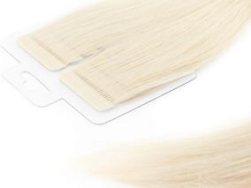 Mega Hair Loiro Platinado (12) Fita Adesiva Premium 65cm