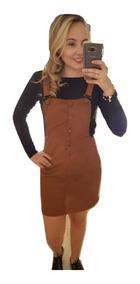 Vestido Jardineira Lançamento Barato Atacado Suede Moda