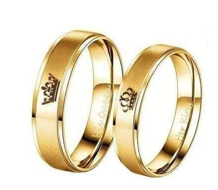 Anillos Par Baño Oro Coronas Romantico Parejas Rey Y Reina