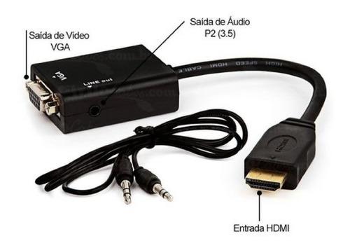 Conversor Hdmi Pra Vga Tv, Monitor, Pc, Notebook, Projetor