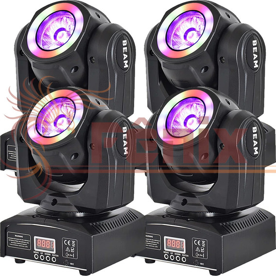 4 Moving Head Beam 60w 4in1 Rgbw + Efeito Circular Rgb Dmx