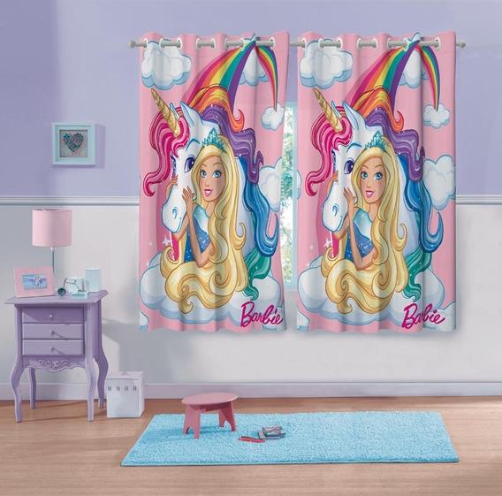 Cortina Com Ilhos Estampada Barbie Reinos Magicos Unicornio
