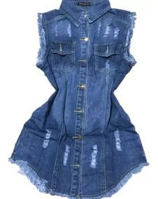 Colete Jeans Feminino Maxi Instagram Comprido Varias Cores