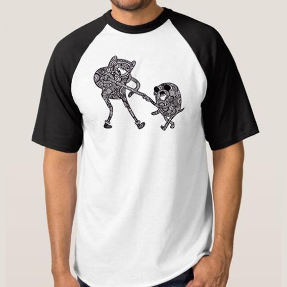 Camiseta Mescla Branca Com Manga Preta Personagens